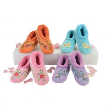 Snoozies Flower Power Fleece Lined Non Slip Slippers